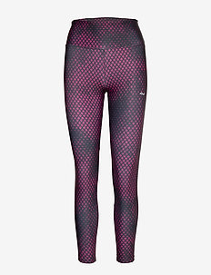 Flattering Stripe Tights - running & training tights - etchy fuchsia