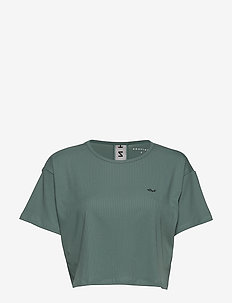 Logo Ribbed Crop Top - crop tops - sea green