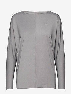 Drape Top - logo t-shirts - grey melange