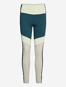 Kay Blocked Tights - running & training tights - pond green