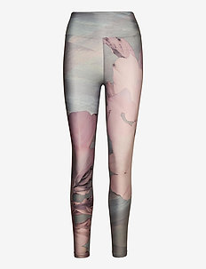 Flattering Esme Printed Tights - running & training tights - pink floweret
