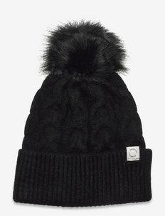 Pom Braid Beanie - huer - black