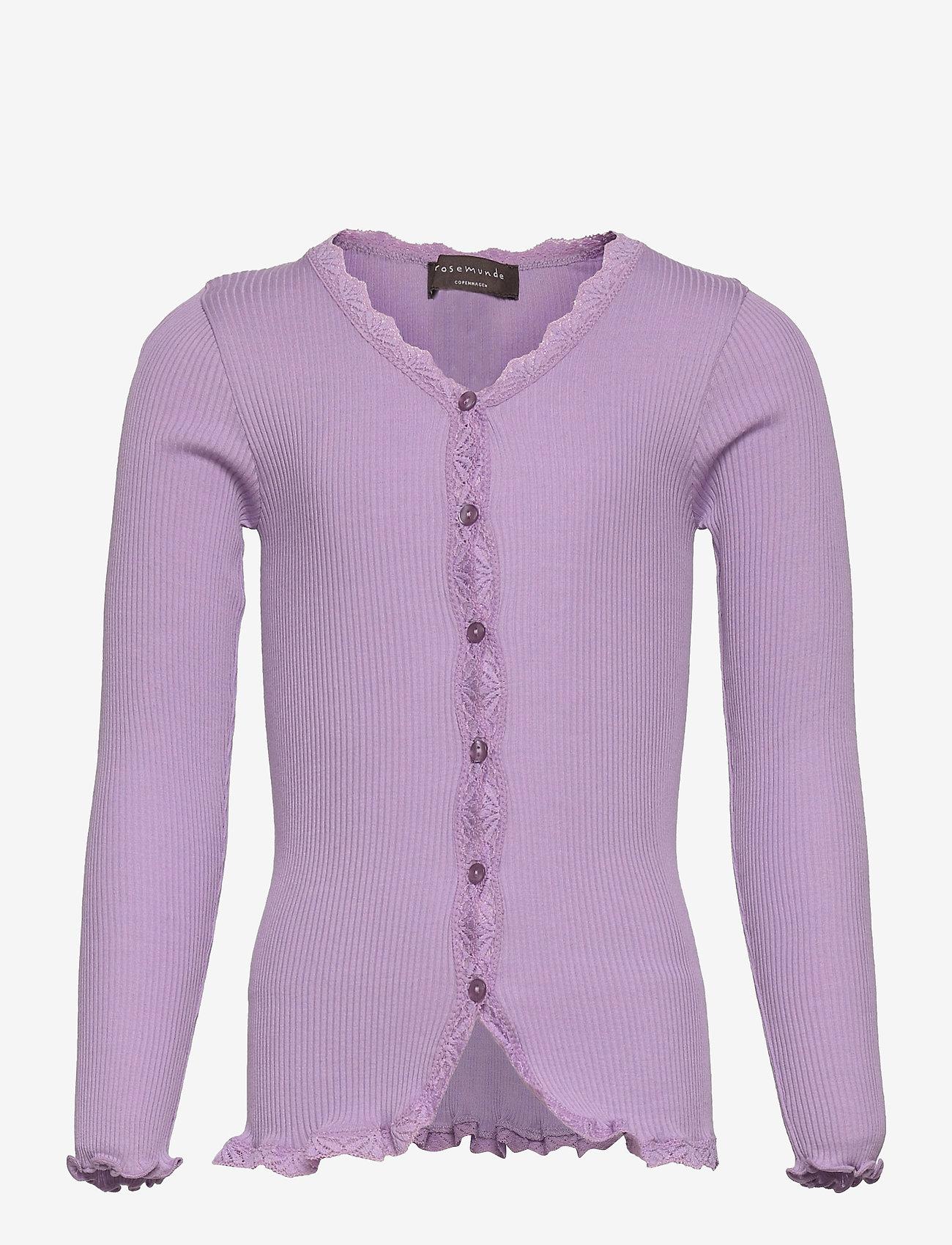 Rosemunde Kids - Silk cardigan regular ls w/ lace - gilets - orchid lavender - 0