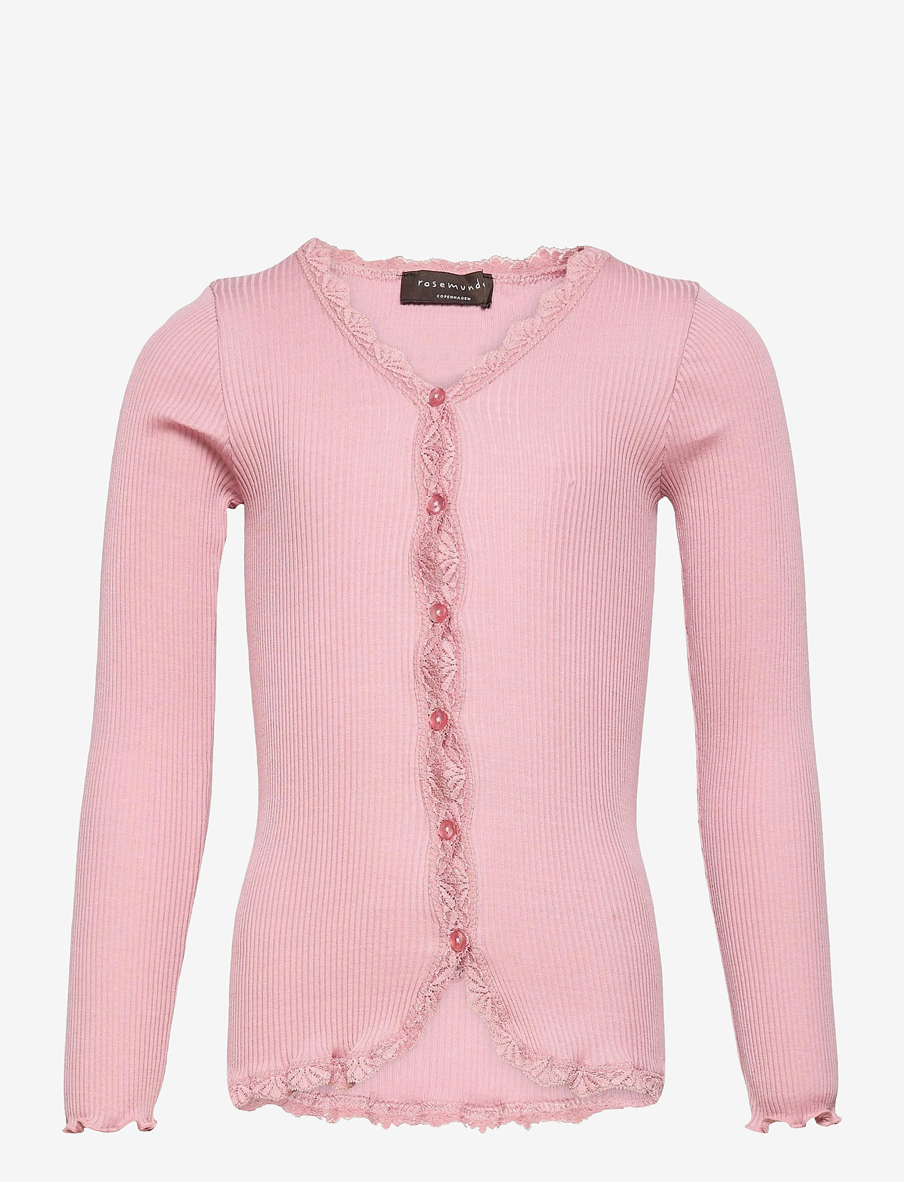 Rosemunde Kids - Silk cardigan regular ls w/ lace - gilets - zephyr rose - 0