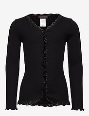 Rosemunde Kids - Silk cardigan regular ls w/ lace - gilets - black - 0