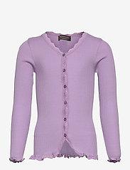 Silk cardigan regular ls w/ lace - ORCHID LAVENDER