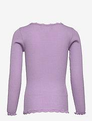 Rosemunde Kids - Silk cardigan regular ls w/ lace - gilets - orchid lavender - 1
