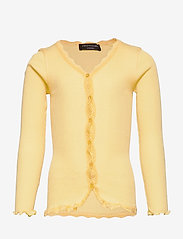 Rosemunde Kids - Silk cardigan regular ls w/ lace - gilets - vanilla yellow - 0