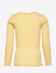 Rosemunde Kids - Silk cardigan regular ls w/ lace - gilets - vanilla yellow - 1