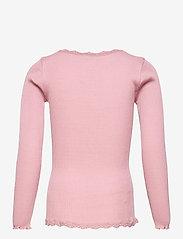 Rosemunde Kids - Silk cardigan regular ls w/ lace - gilets - zephyr rose - 1