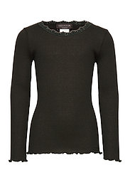 Silk t-shirt regular ls w/ lace - BLACK GREEN