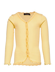 Silk cardigan regular ls w/ lace - VANILLA YELLOW