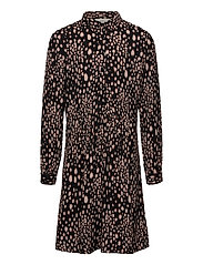 Dress ls - BLACK BLURRED SPOT PRINT