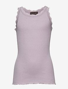 Silk top regular w/ lace - sleeveless - iris purple