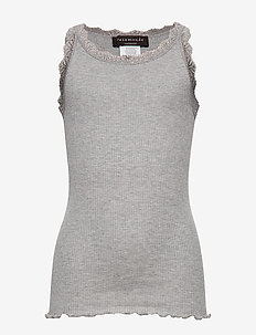 Silk top regular w/ lace - sleeveless tops - light grey melange
