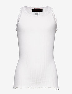 Silk top regular w/ lace - sleeveless tops - new white