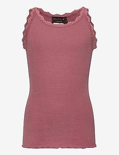 Silk top regular w/ lace - sleeveless - pale rose