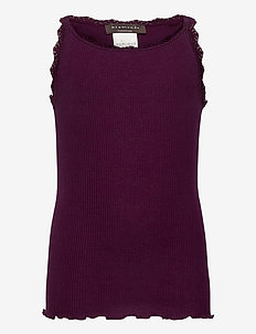 Silk top regular w/ lace - sleeveless - potent purple