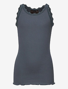 Silk top regular w/ lace - sleeveless - stormy weather