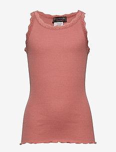 Silk top regular w/ lace - sleeveless - terracotta