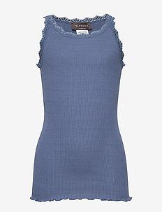 Silk top regular w/ lace - sleeveless - true navy