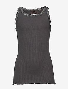 Silk top regular w/ lace - sleeveless - urban chic