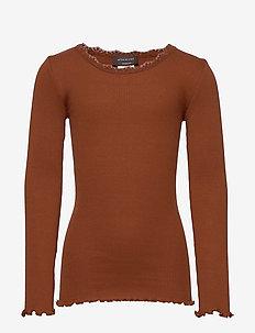 Silk t-shirt regular ls w/ lace - langärmelige - amber brown