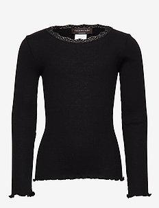 Silk t-shirt regular ls w/ lace - BLACK
