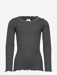 Silk t-shirt regular ls w/ lace - langärmelige - dark grey melange