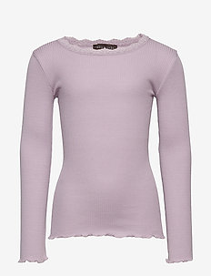 Silk t-shirt regular ls w/ lace - IRIS PURPLE