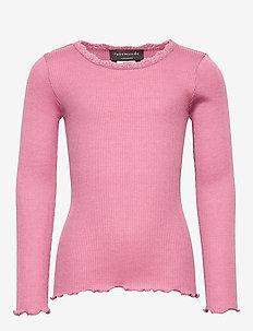 Silk t-shirt regular ls w/ lace - MESA ROSE