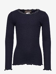 Silk t-shirt regular ls w/ lace - NAVY