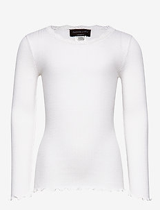 Silk t-shirt regular ls w/ lace - long-sleeved t-shirts - new white