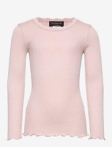Silk t-shirt regular ls w/ lace - VINTAGE POWDER