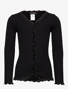 Silk cardigan regular ls w/ lace - BLACK