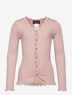Silk cardigan regular ls w/ lace - cardigans - vintage powder
