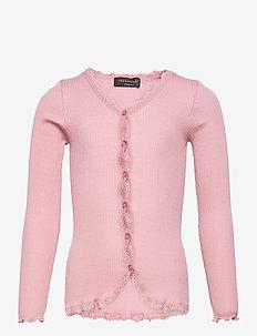 Silk cardigan regular ls w/ lace - gilets - zephyr rose