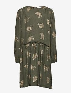 Dress ls - GREEN GOLD FOIL BOUQUET PRINT