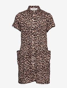 Dress ss - kjoler - brown shadow leopard print