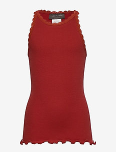 Organic top regular ss w/ lace - sleeveless tops - red ochre