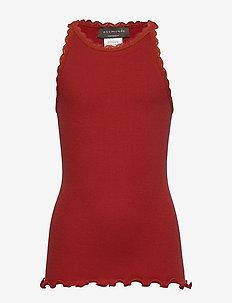 Organic top regular ss w/ lace - RED OCHRE