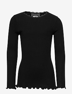 Organic t-shirt  regular ls w/ lace - long-sleeved t-shirts - black