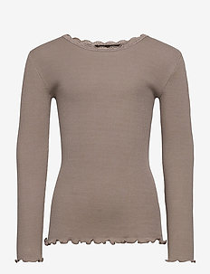 Organic t-shirt  regular ls w/ lace - DRIFTWOOD