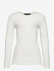 Organic t-shirt  regular ls w/ lace - long-sleeved t-shirts - ivory