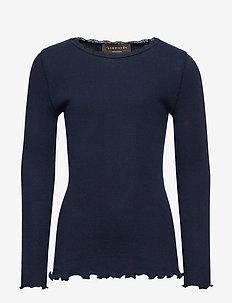 Organic t-shirt  regular ls w/ lace - NAVY