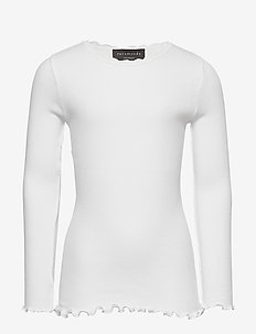 Organic t-shirt  regular ls w/ lace - NEW WHITE