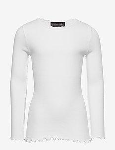 Organic t-shirt  regular ls w/ lace - NEW WHITE