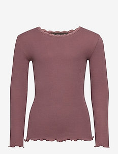 Organic t-shirt  regular ls w/ lace - ROSE TAUPE