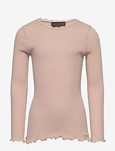 Organic t-shirt  regular ls w/ lace - VINTAGE POWDER