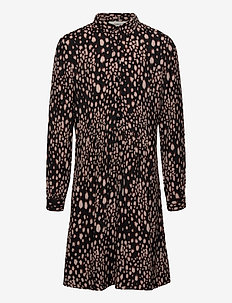 Dress ls - kjoler - black blurred spot print